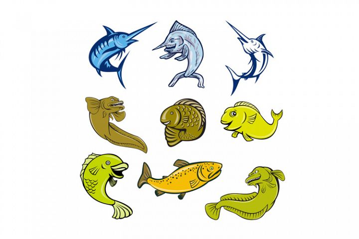 Marine Life Animals Cartoon Set