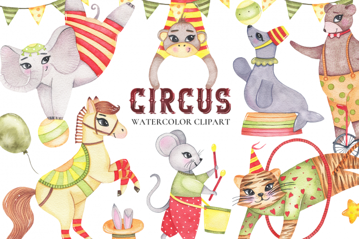 Circus animals watercolor clipart