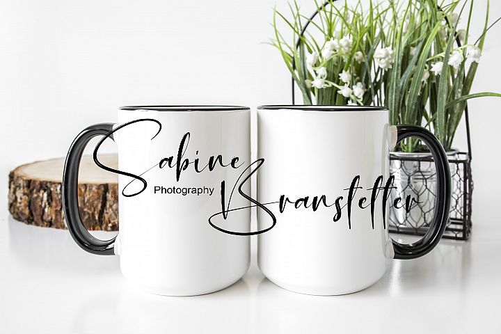 Styled Stock Photo Black And White 15oz Coffee Mugs Mockup