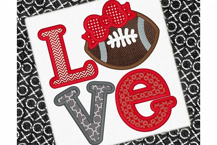 Football Love Applique Design 1265