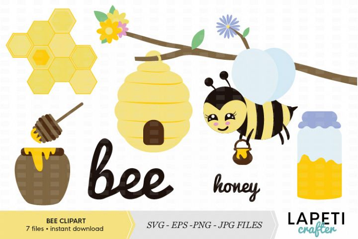 Bee with honey and hive clipart kit