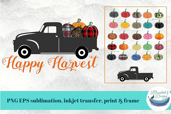 Happy Harvest Truck with Patterned Pumpkin sublimation fall