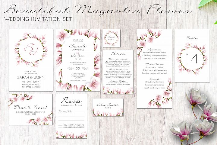 Beautiful magnolia floral wedding invitation set