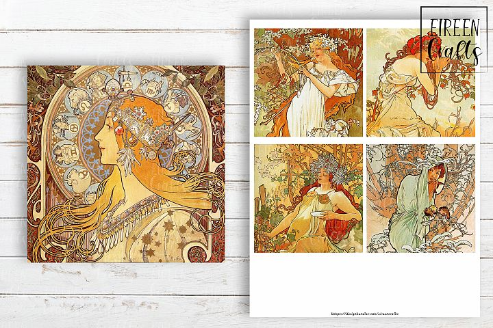 Alfons Mucha 4x4 inch tiles, Coasters Collage Sheet