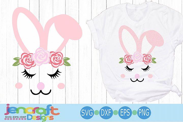 Floral Girl Easter Bunny Face Eyelashes svg, eps, dxf