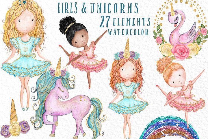 Watercolor girl s clipart cute Unicorns clipart Swan clipart