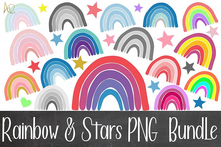 Sublimation Rainbow and Stars PNG Bundle 33 files
