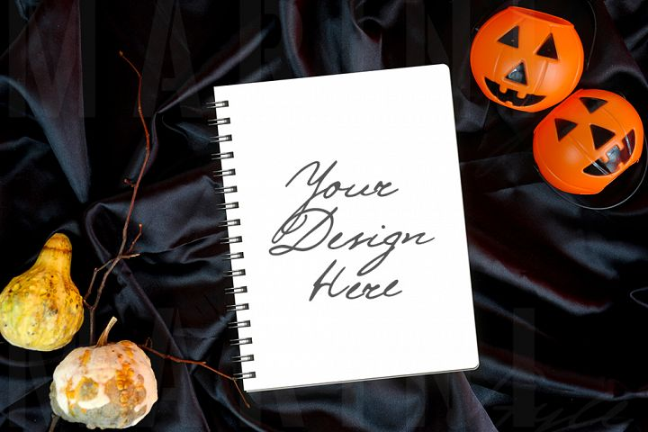 Halloween Notebook Mockup, Planner Cover Mockup, 1085