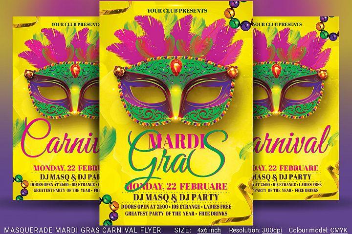 Masquerade Mardi Gras Carnival Flyer
