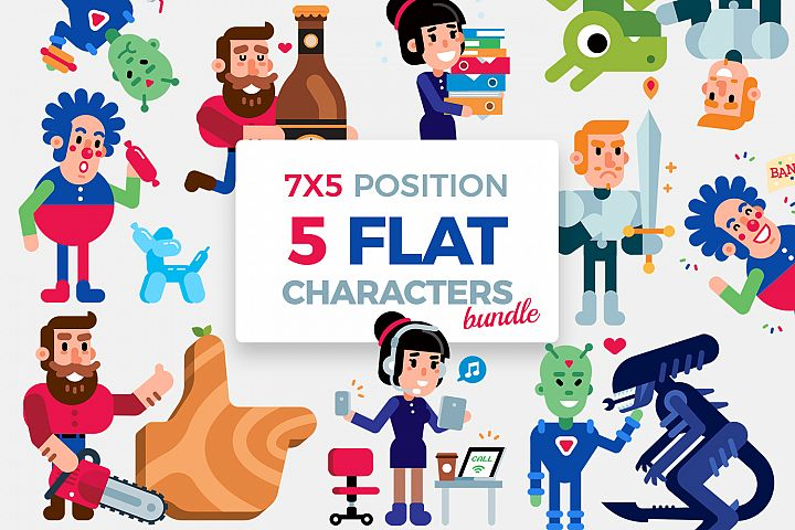 5 Vector Flat Characters Bundle