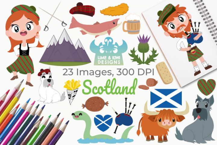 Scotland Clipart, Instant Download Vector Art