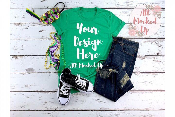 Bella Canvas 3001 Kelly Green Shirt Mock Up Mardi Gras 1/19