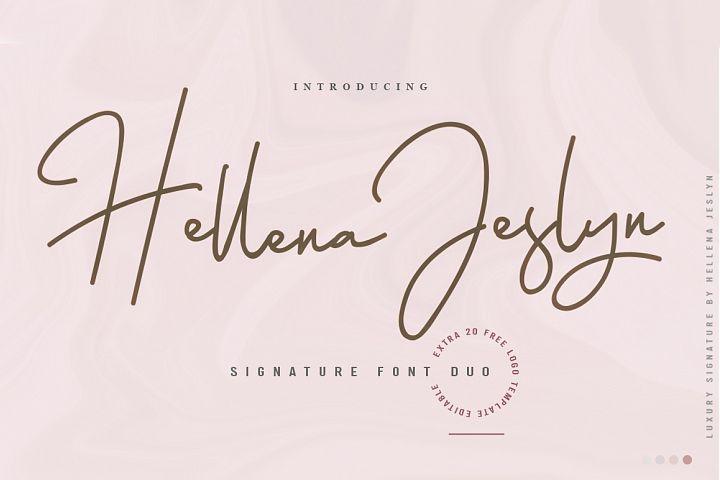 Hellena Jeslyn Signature Font Duo Free Logo