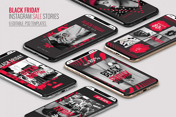 6 Black Friday Instagram Sale Stories PSD Templates
