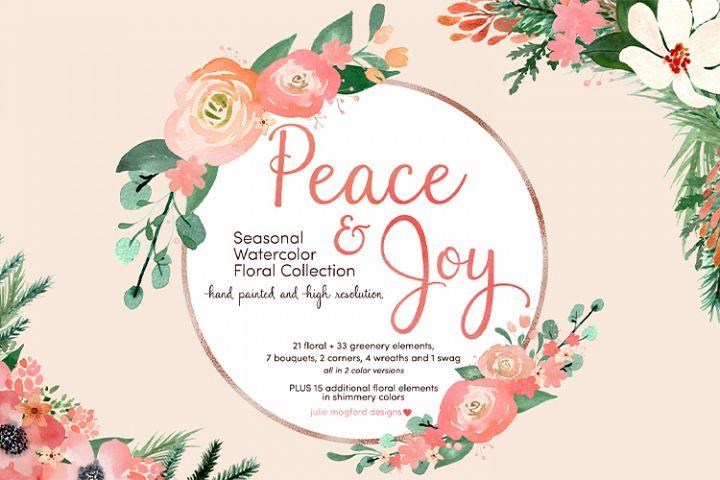 Peace & Joy - Seasonal Watercolor Floral Collection