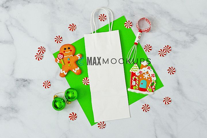 Wine bag Mockup, Christmas gingerbread, styled photo display
