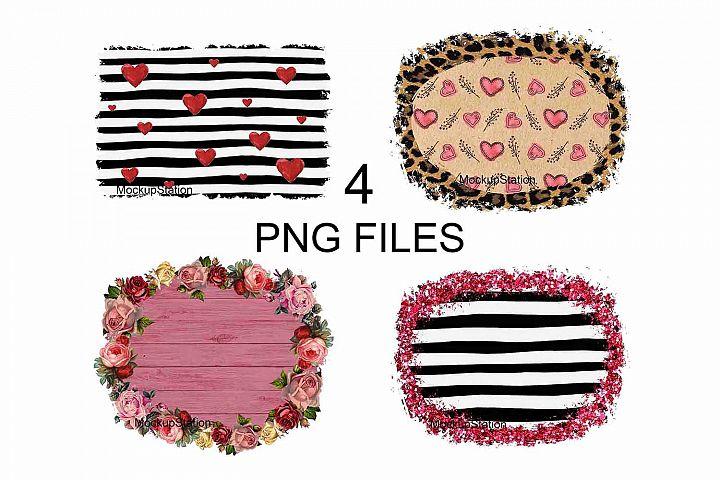 Valentine Background PNG Bundle, Sublimation Frame Clip Art