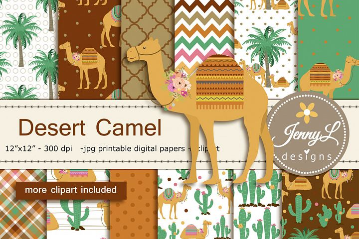Desert Camel Digital Papers and Clipart