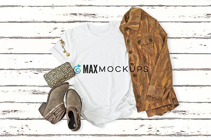 T-shirt mockup, plaid, boots, flatlay stock photography
