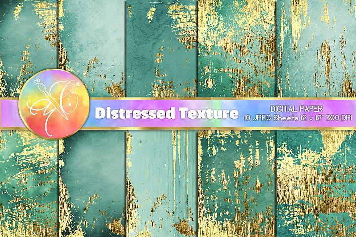 Turquoise Distressed Digital Paper, Gold Foil Distressed Tex