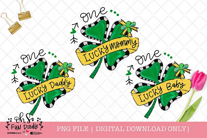 One lucky mommy, daddy, baby, St Patricks sublimation bundle