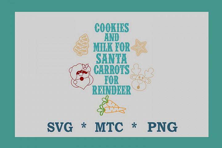 SVG Cookies for Santa Carrots 4 Reindeer Design #14 Cut File