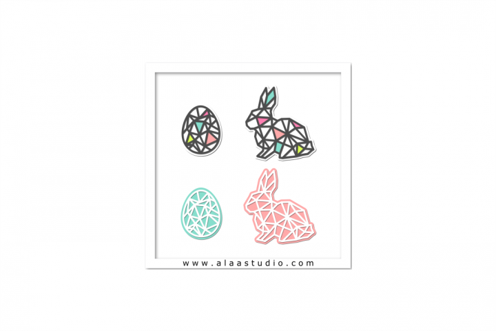 Modern geometric cutout egg rabbit, SVG, PDF, SILHOUETTE STUDIO Formats