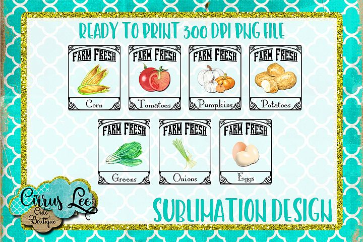 Farm Fresh Set Subimation Design/Wall Art