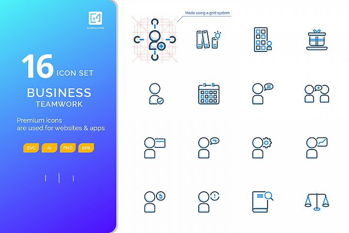 Icon set BUSINESS TEAMWORK outline fillcolor style