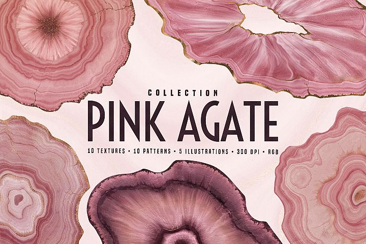 Pink Agate Illustrations, Textures & Patterns