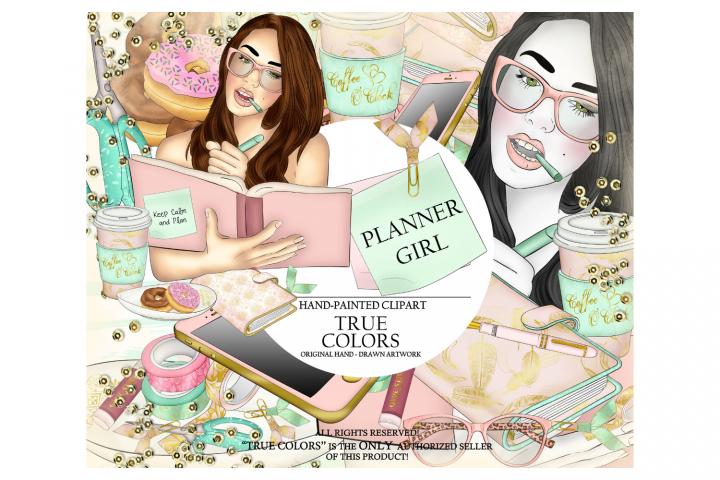 Planner Girl Clip Art/Planner Girl Clipart/planner girl