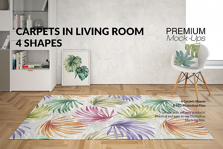 4 Types of Carpets & Pillow in Living Room Mockup Set