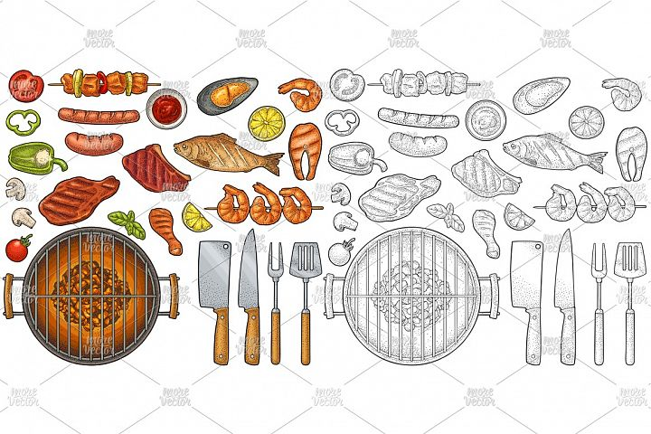Barbecue grill set sea, meat. Vintage color vector engraving