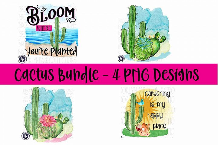 Cactus Watercolor Bundle, Bloom, Gardening, Sublimation PNG