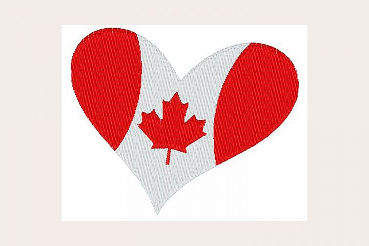 Canada Flag Heart - Machine Embroidery Design