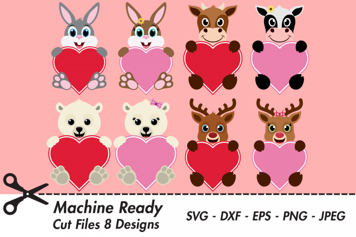 Valentine Heart Bundle SVG Cut Files, Happy Animal Hearts