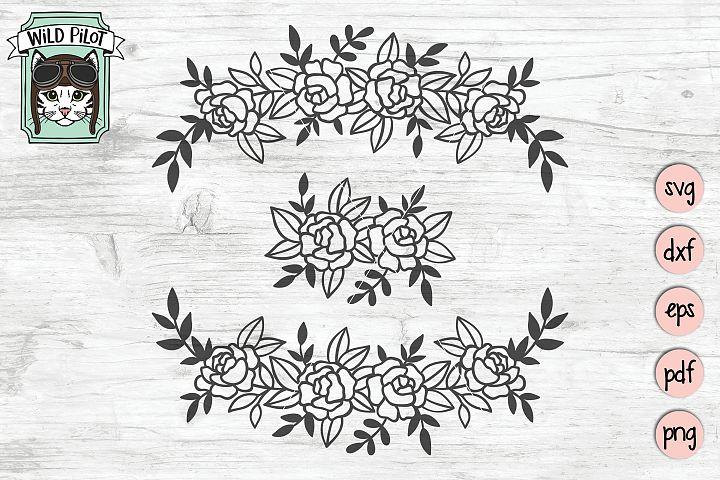 Flowers SVG file, Flower Border, Floral cut file, , Divider