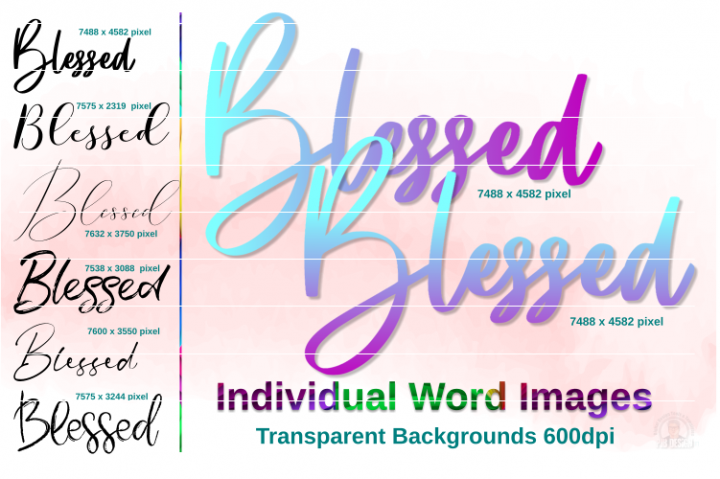 Blessed Script Text Images Inc Ombre Style
