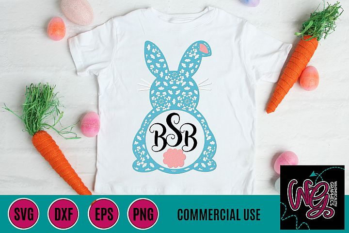 Mandala Easter Bunny Monogram SVG DXF PNG EPS Comm