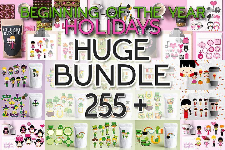 Beginning of the year holidays bundle, huge clip art