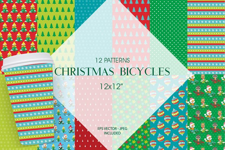 Christmas bicycles Pattern collection, vector ai, example image 1