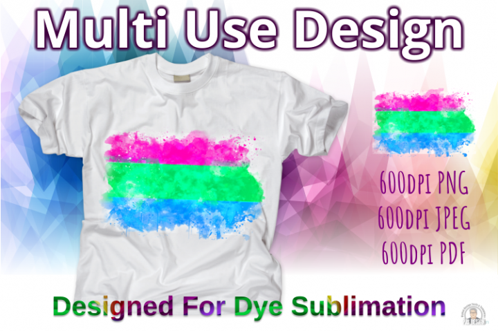 Polysexual Pride Flag Ink Splash Sublimation Design