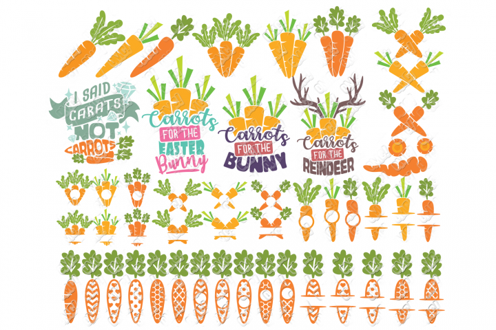 Carrot SVG Easter Monogram Quote in SVG, DXF, PNG, EPS, JPEG