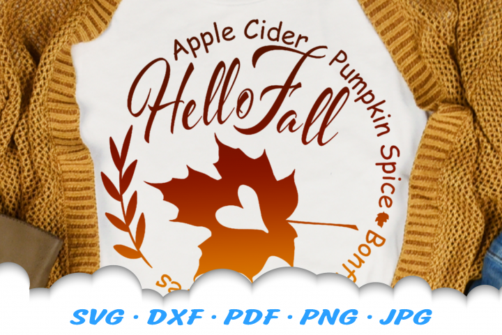 Hello Fall Leaf Heart SVG DXF Cut Files