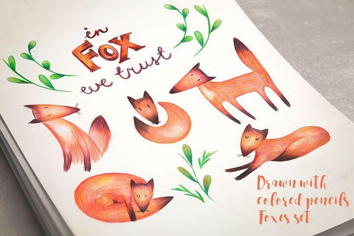 Hand drawn foxes set