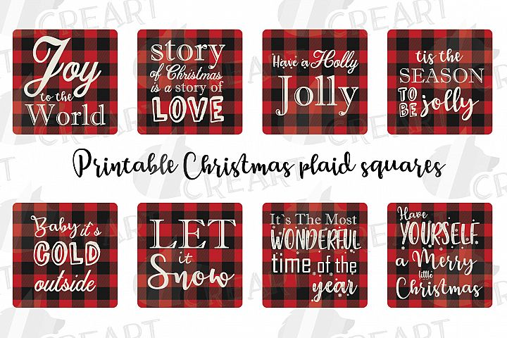 Plaid Christmas squares cards clip art. Coaster graphic png.