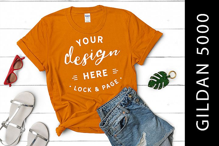 Tennessee Orange Gildan 5000 Womens Knotted T-Shirt Mockup
