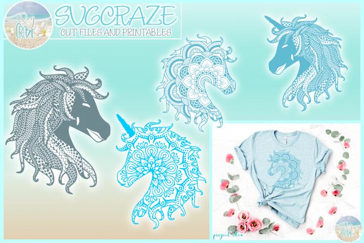 Horse Unicorn Mandala Zentangle Bundle Svg Dxf Eps Png PDF