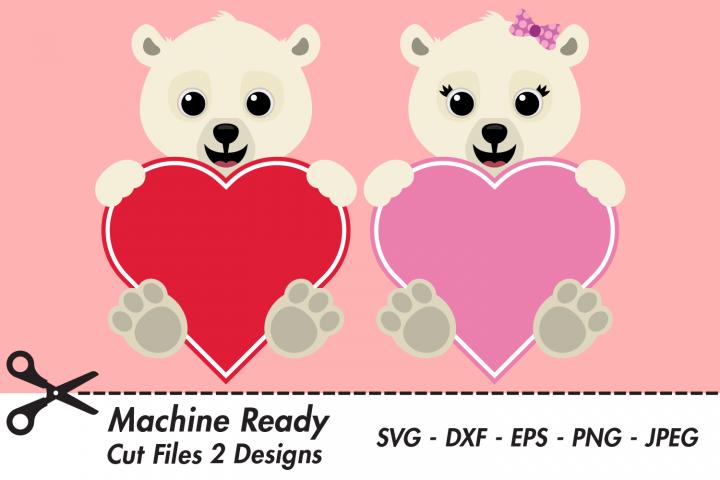 Cute Polar Bear Valentine Heart SVG Cut Files, Happy Bears
