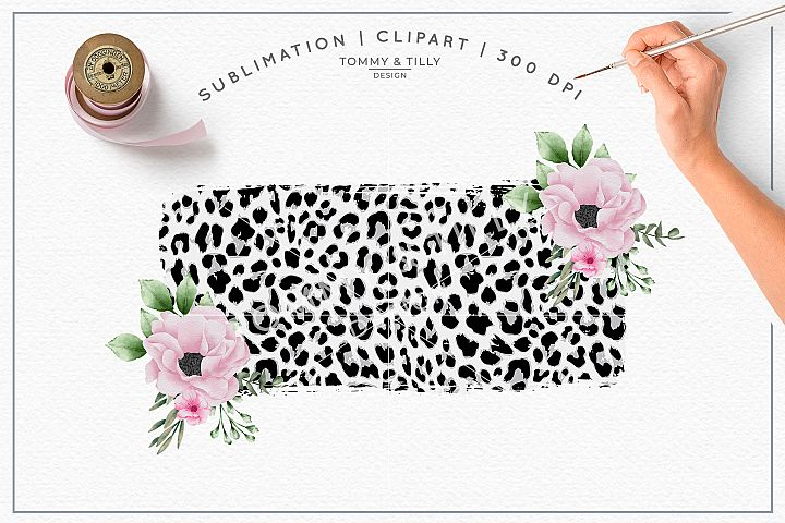 Leopard Floral Background No.2 - Sublimation PNG Clipart